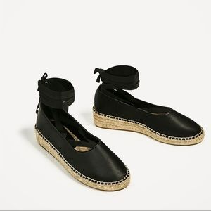 Zara Black leather lace up espadrilles 8